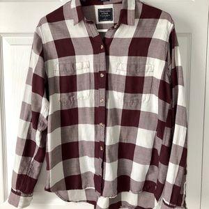 Abercrombie Boyfriend Shirt, maroon (purple), S